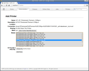 printer configuration in Sabayon